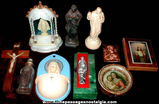 (10) Small Old Catholic Or Christian Religious Items