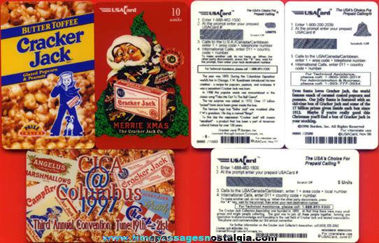 (3) Different Unused Cracker Jack Advertising Phone Cards