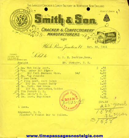 (15) 1911 - 1915 Candy & Gum Company Invoices
