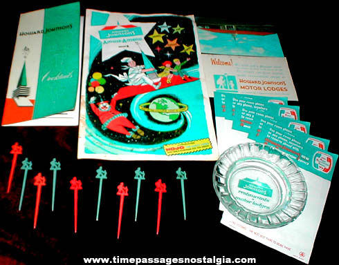 (19) Colorful Old Howard Johnson's Restaurant Advertising Items