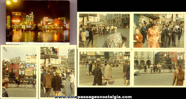 (6) Old London Piccadilly Circus Photographs & (1) Post Card