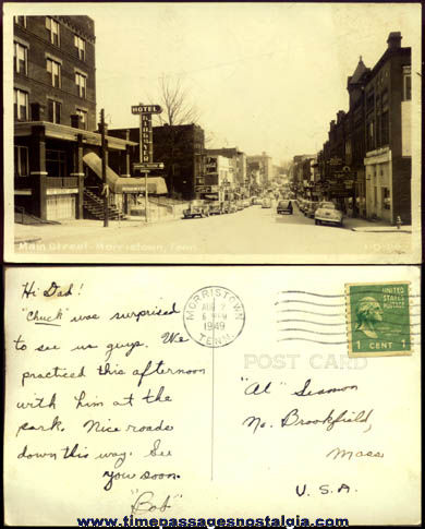 1949 Main Street Morristown, Tennessee Real Photo Post Card
