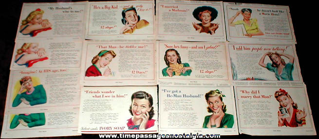 (13) 1942 - 1944 Colorful Pin Up Girl Ivory Soap Advertisements