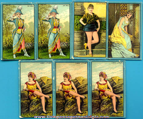 (7) Old Pretty Lady Risque Trading Cards
