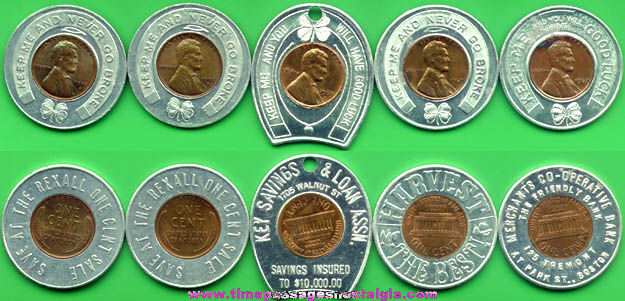 (5) Old Encased Cent Advertising Tokens
