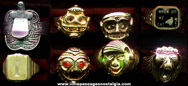 (8) Old Metal Premium, Prize, Or Novelty Toy Rings