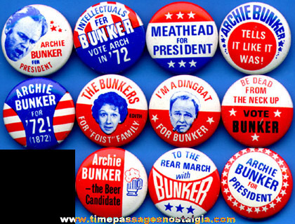(11) 1972 Archie Bunker Political Pin Back Buttons