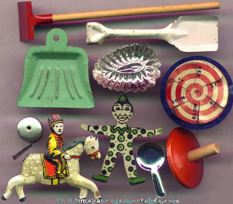 (10) Different Cracker Jack Prize / Premium Tin Toys