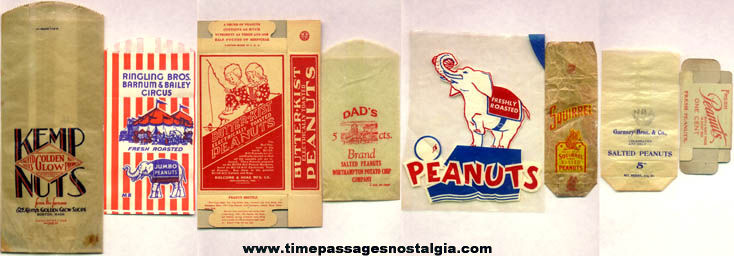 (7) Old Advertising Peanut Bags and Box