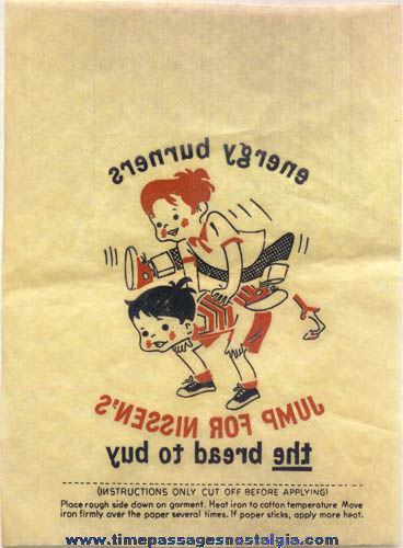 (3) Old Nissen Bread Advertising Premium Iron On Transfers