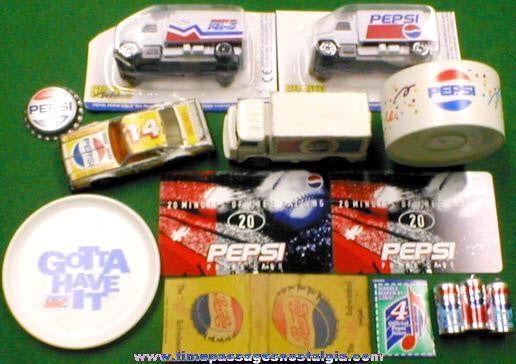 (14) Small Pepsi Cola Advertising Items