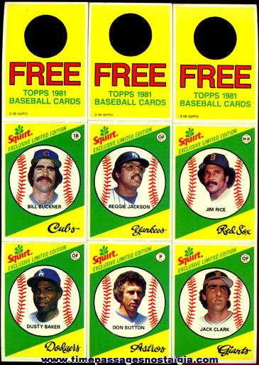 (6) ©1981 Squirt Soda Advertising Premium Baseball Cards