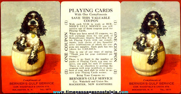 (3) Old Gulf Gasoline Playing Card Advertising Premium Coupons