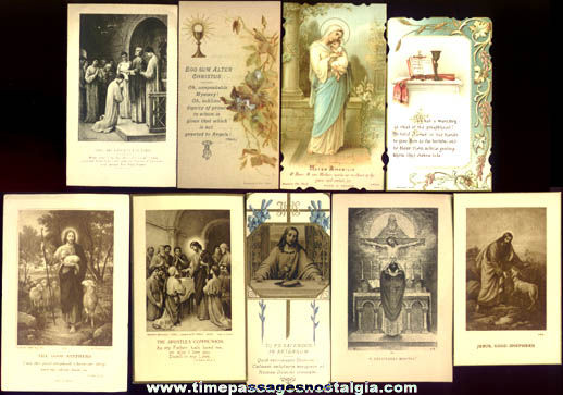 (9) Different 1922 Catholic Priest Ordination First Holy Mass Cards