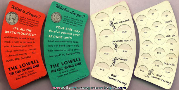 (2) 1956 Bank Advertising Premium Optical Illusion Coin Holders