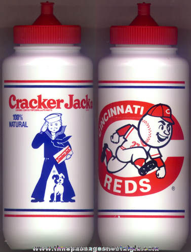 Unused Advertising Cracker Jack / Cincinnati Reds Baseball Water Bottle