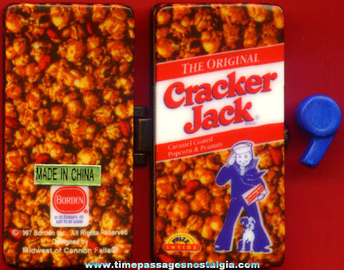 ©1997 Cracker Jack Pop Corn Confection Advertising Porcelain Trinket Box With Whistle
