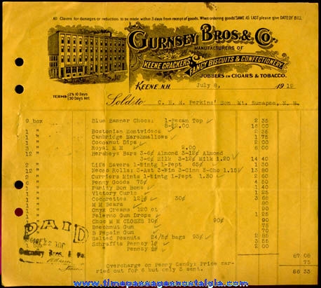 (15) 1915 - 1925 Candy & Tobacco Company Invoices