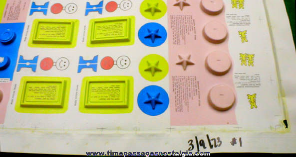 RARE Uncut #1 1973 Magic Cereal Prize / Premium Prototype Test Sheet