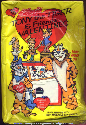 Unopened Package Of (38) ©1987 Kellogg's Cereal Advertising Character Valentine Cards