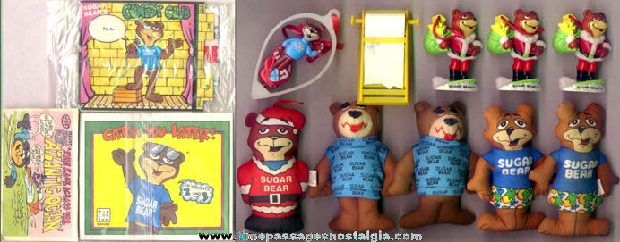 (13) Post Super Golden Crisp Cereal Sugar Bear Advertising Character Items