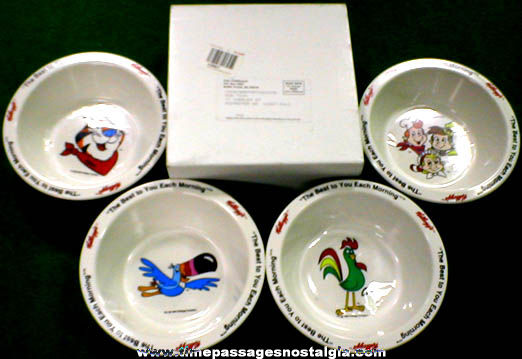 Set Of (4) Unused ©1995 Kellogg's Advertising Character Cereal Premium Bowls With Mailer
