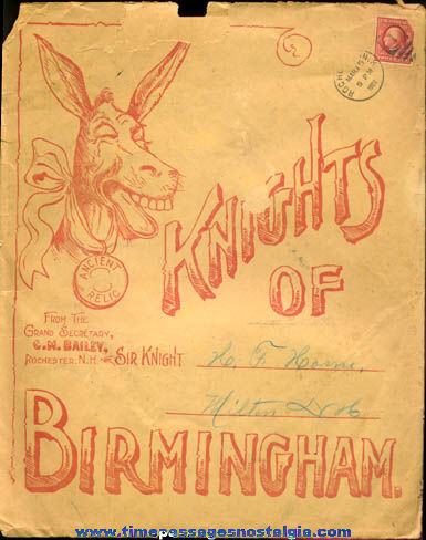 (6) Unusual 1908 - 1910 Knights Of Birmingham Fraternal Items