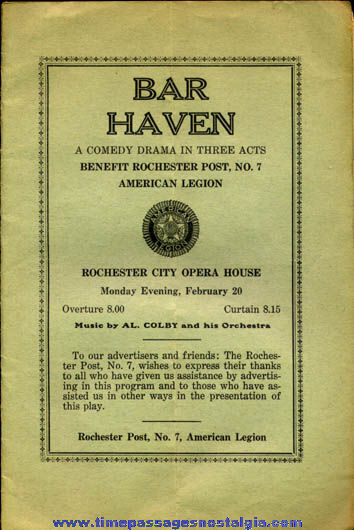 Old Rochester, N.H. City Opera House Advertising Program Booklet