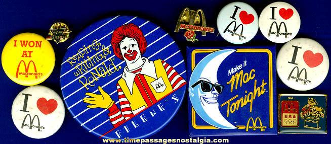 (10) Old McDonald's Restaurant Advertising Pins