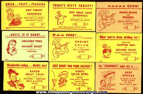 (25) Different Old Restaurant / Diner Menu Special Advertising Cards