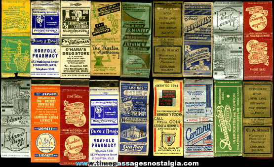 (18) Old Pharmacy - Apothecary Advertising Match Book Covers