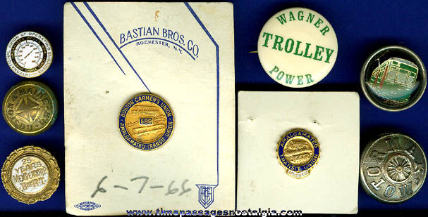 (8) Small Old Railroad, Street Car, & Trolley Employee Items