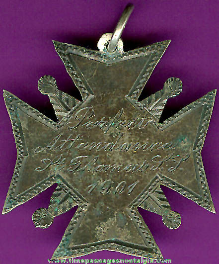 Engraved 1901 School Award Charm / Medallion