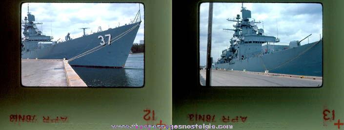 (2) 1978 United States Navy U.S.S. South Carolina CGN-37 Ship Color Photograph Slides