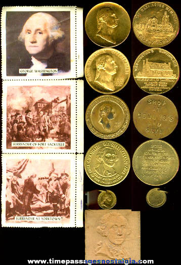 (9) Small Old President George Washington Related Items