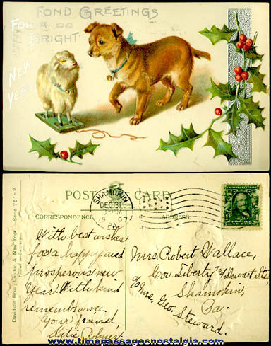 1907 Embossed New Year Post Card