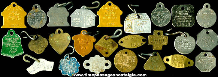 (25) Different Old Dog License & Rabies Tags