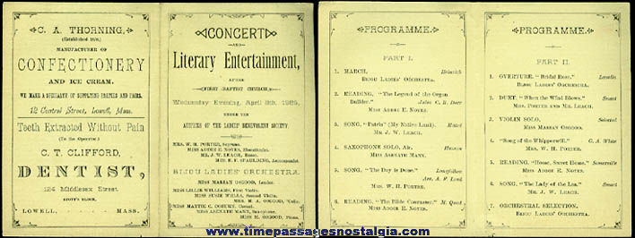 1885 Lowell, Massachusetts Concert Brochure