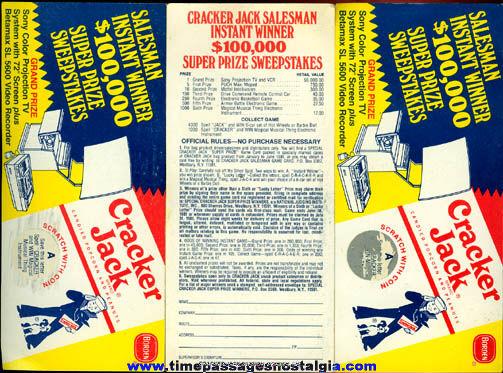 (3) 1981 Cracker Jack Salesman Instant Winner Contest Cards