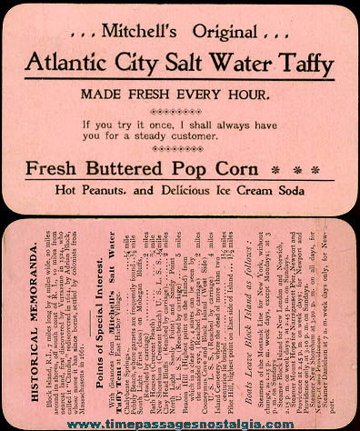 Old Mitchell's Salt Water Taffy Advertising Card