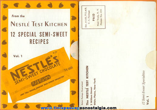 Old Nestle's Chocolate Advertising Premium Recipe Booklet