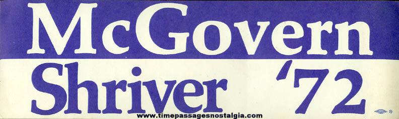 (16) 1972 McGovern / Shriver Campaign Bumper Stickers