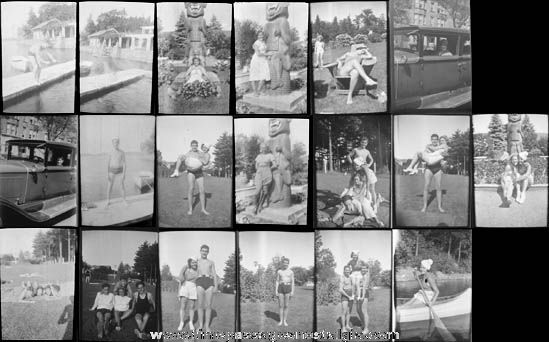 (19) 1920's & 1930's Totem Lodge Burden Lake, New York Photograph Negatives