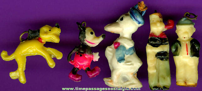 (5) Old Comic / Cartoon Character Celluloid Charms