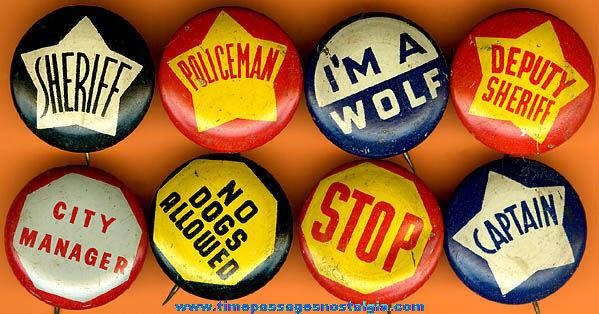 (8) Similar Old Tin Gum Ball Machine Prize Pin Back Buttons