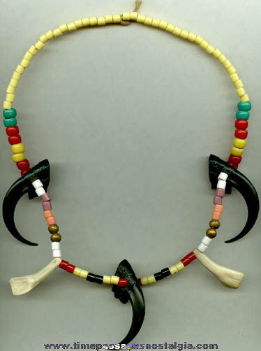 Old Glass & Plastic Simulated Indian Necklace