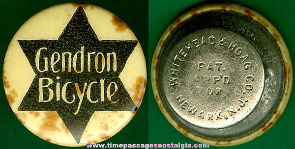 Old Celluloid & Metal Bicycle Advertising Stud Lapel Button