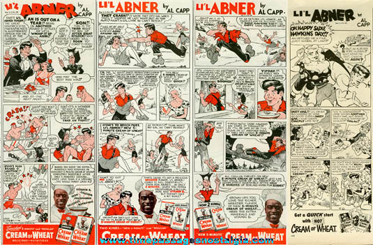 (4) Large 1940's Li'l Abner Character Cream Of Wheat Cereal Comic Strip Advertisements