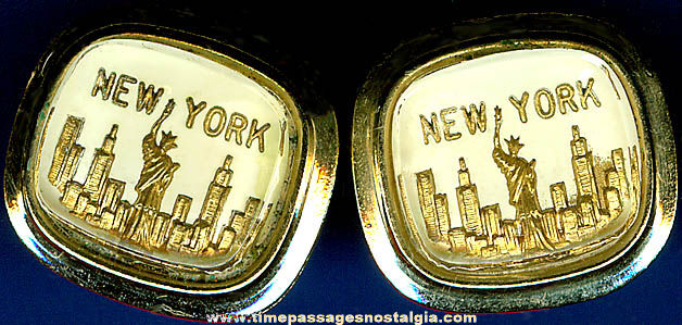 Pair Of Old New York City Skyline Souvenir Cuff Links