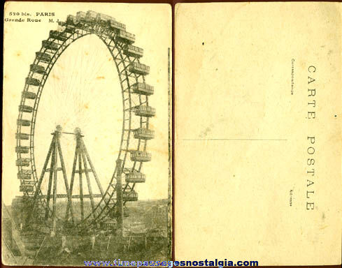 Old Unused Paris, France Ferris Wheel Post Card